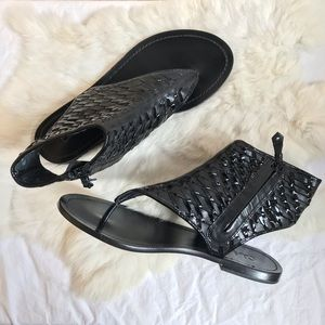 Cole Haan Black Woven Leather Eve Gladiator Sandal